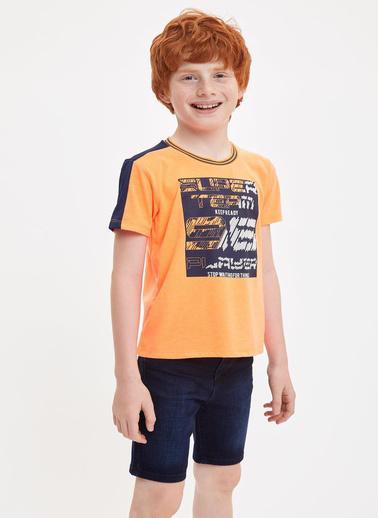 DeFacto Erkek Çocuk Baskılı Bisiklet Yaka Tişört Oranj